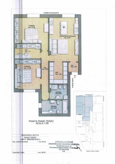 Vendesi a Rimini appartamento di mq.108 circa di nuova costruzione in centro storico.